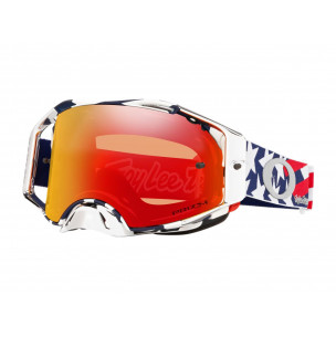 Masque OAKLEY Airbrake MX Troy Lee Designs Patriot Red White Blue écran Prizm MX Torch Iridium