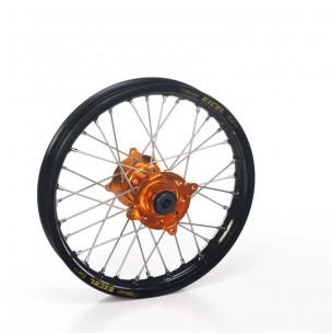 Roue ARRIERE complète TC 65-SX 65 HAAN WHEELS 12x1,60x36T jante noir/moyeu orange/rayons argent/têtes de rayons argent