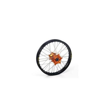 Roue arrière TC85 17-19 SX85 04-19complète HAAN WHEELS 14x1,60x36T jante noir/moyeu orange/rayons argent/têtes de rayons argent