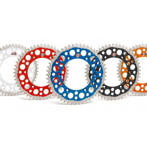 Couronne RENTHAL Twinring Ultra-light anti-boue anodisé dur pas 520 type 2240 ORANGE ou BLEU
